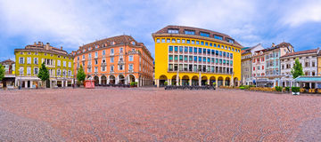 Bolzano main square Waltherplatz panoramic view. South Tyrol region of Italy royalty free stock images