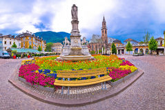 Bolzano main square Waltherplatz panoramic view Royalty Free Stock Photos