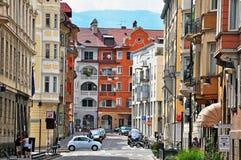 Bolzano old town, Italy. BOLZANO, ITALY - JULY 20: View of a street in historical centre of Bolzano, Italy on July 20, 2014. Bolzano is a city in northern Italy royalty free stock photography