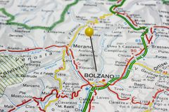 Bolzano pinned on a map of Italy Stock Images