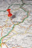 Bolzano pinned on a map of Italy Stock Photo