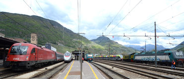Bolzano  railway station. Four trains OBB Austrian and Italian railways Stock Photography