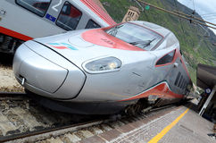 Bolzano  railway station - engine speed trains Stock Photos