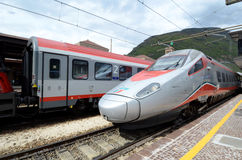 Bolzano  railway station - engine speed trains Royalty Free Stock Images