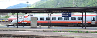 Bolzano  railway station -  speed trains Royalty Free Stock Image