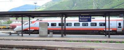 Bolzano  railway station -  speed trains. Bolzano railway station  railway station and High speed lines and trains - Trenitalia Royalty Free Stock Image