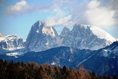 Bolzano's mountains with snow Royalty Free Stock Image