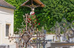 Bolzano, Varna in South Tyrol, Italy, may 25, 2017: small cemetery located at the Augustinian Canons Regular monastery Abbazia di. Novacella localed in Varna Stock Photography