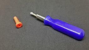 Bolzen und Schraubenzieher, Bolzenplastik und Schraubenzieher Stockfoto