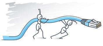 Bolzen und Seilzug auf tiefem blauem Hintergrund lizenzfreie abbildung