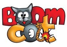 Bom-als het concept van het kattenembleem Boomcat Royalty-vrije Stock Afbeeldingen