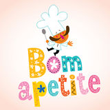 Bom apetite Portuguese decorative type with chef character Stock Image