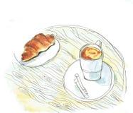 """Bom dia com café e croissant ¹ do ¾ Ð do ¾ кРРde буРdo  de е Ñ do """"do ¾ Ñ de КРde"""" ¼ do ¾ Ð do ½ Ð do  аРdo  Ñ de Ð ilustração do vetor"""