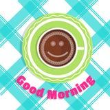 Bom dia do cartão do vetor Uma xícara de café na opinião de tampo da mesa Imagens de Stock Royalty Free