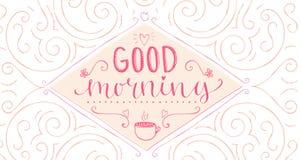 Bom dia - frase da caligrafia, começo do Fotos de Stock Royalty Free