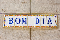 Bom Dia (Good Morning) tiles on a building in Lisbon Stock Photos