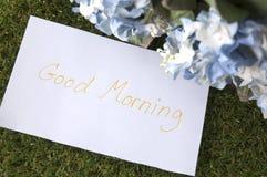 Bom dia na nota de papel Fotos de Stock
