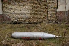 Bom die in Stad Pripyat legt. Stock Fotografie