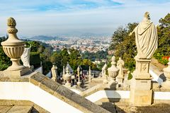 Bom Jesus garden. Bom Jesus de Monte gardens are a peaceful place for tourists in the north of Portugal. Good views on town on top steps Royalty Free Stock Images