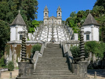 Bom Jesus do Monte in Braga, Portugal. Stairway and church of Bom Jesus do Monte, a Portuguese sanctuary in Tenoes near the city of Braga in Portugal Stock Image