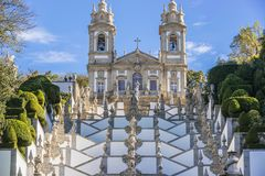 Bom Jesus do Monte sanctuary. Famous sanctuary Bom Jesus do Monte near Braga city in historical Minho Province, Portugal Royalty Free Stock Photos