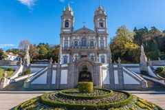 Bom Jesus do Monte sanctuary. Famous sanctuary Bom Jesus do Monte near Braga city in historical Minho Province, Portugal Stock Photo