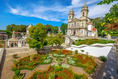 Braga Sanctuary Portugal. Bom Jesus do Monte Sanctuary and her public garden. Tenoes, Braga. The historic church is a popular landmark and pilgrimage site in stock photo