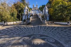 Bom Jesus do Monte sanctuary. Impressive stairs of famous sanctuary Bom Jesus do Monte near Braga city in historical Minho Province, Portugal Royalty Free Stock Photography