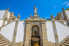 Bom Jesus staircase. Bom Jesus do Monte Sanctuary, a popular pilgrimage site in northern Portugal, Tenoes in Braga. Fountain on a monumental baroque staircase of Royalty Free Stock Photo