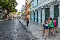 Bom Jesus Street. Panoramic view of the historic Bom Jesus Street in Pernambuco, Brazil with its historic building and cobble stones dated from the seventieth Royalty Free Stock Photo