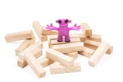 Bom monstro cor-de-rosa do plasticine Foto de Stock Royalty Free