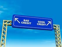 Bom ou trajeto ruim do crédito ilustração stock