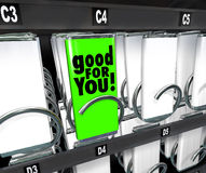 Bom para você da máquina de venda automática bem escolhida do alimento do petisco opção saudável Imagens de Stock