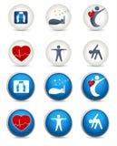 Bom sono, aptidão e outros ícones vivos saudáveis Imagens de Stock
