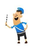 Bom sorriso alegre do polícia e um bastão Imagem de Stock