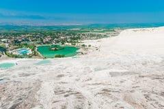 Bom tempo claro e uma vista bonita da parte superior de Pamukkal Imagens de Stock Royalty Free