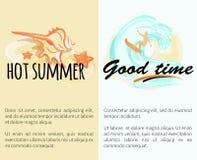 Bom tempo do verão quente com Shell e o homem surfando ilustração stock