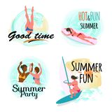 Bom tempo do verão quente e grupo do abrandamento do divertimento ilustração stock