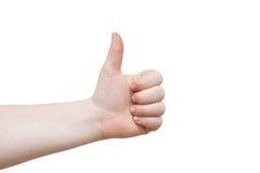 Bom trabalho!! As fêmeas entregam a doação dos polegares acima Imagens de Stock Royalty Free