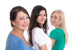 Bom trabalho da equipe - estagiários felizes em seguido isolados no backg branco Foto de Stock Royalty Free