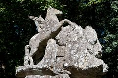 Bomarzo fountain of Pegasus, the winged horse. Bomarzo Lazio Italy the park of monsters fountain of Pegasus, the winged horse Stock Images