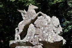 Bomarzo springbrunn av Pegasus, den bevingade hästen Arkivbilder