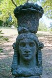Bomarzo woman with basket on her head. Bomarzo Lazio Italy the park of monsters woman with basket on her head Royalty Free Stock Photo