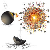 Bomb. Illustration of bomb at different stages Stock Images