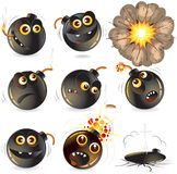 Bomb. Collection of cartoon bomb expression Royalty Free Stock Images