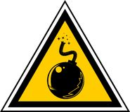 Bomb. Warning sign with a bomb Stock Photography