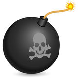 Bomb. Black bomb with burning fuse on a white background Stock Photos