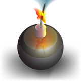 Bomb. Icon with a burning wick Stock Photography