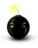 Bomb. An illustration of a bomb with its fuse lit. The eyes on the bomb are watching the burning fuse Royalty Free Stock Photography