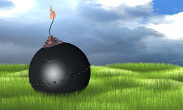Bomb. 3d illustration of round bomb engraved as earth globe (africa) on green grass royalty free illustration